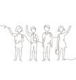 schoolchildren - one line design style vector image