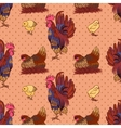 seamless background with hand drawn rooster hens vector image vector image