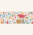 set cute hand drawn collage elements vector image vector image
