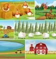 set farm landscape vector image vector image