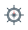 ship wheel compass rose design vector image
