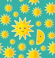 Sun Moon Stars on blue night sky seamless pattern vector image