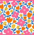 super bright and colorful cartoon floral pattern vector image