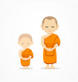 thai monks and thai novice stand up isolat vector image