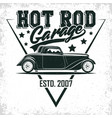 vintage hot rod emblem design vector image vector image