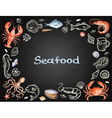 Watercolor set of seafood vector image vector image