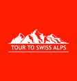 white logo of swiss mountains vector image vector image