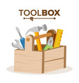 wooden classic toolbox full of equipment vector image