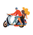 young man riding scooter motorcycle with blond vector image vector image