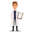 young professional doctor holding blank clipboard vector image vector image
