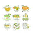 cooking logo original design cooking with love vector image