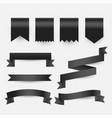 black ribbons and tags labels set vector image