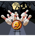 bowling night on Halloween vector image