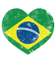 Brazil retro heart shaped flag vector image vector image