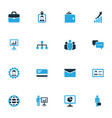 business icons colored set with envelope billfold vector image