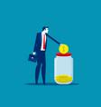 businessman saving money concept business vector image
