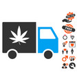 Cannabis delivery van icon with valentine bonus