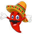 cartoon happy sombrero chili pepper vector image vector image