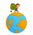 cartoon travel man with backpack around world vector image vector image