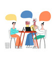 cartoon woman and man talking speech bubble vector image vector image