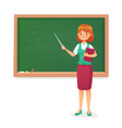 chalkboard and teacher female professor teach at vector image vector image