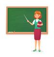 chalkboard and teacher female professor teach vector image