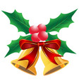christmas holly leaf with bells vector image vector image