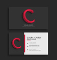 clean dark business card with letter C vector image
