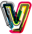 Colorful Grunge font LETTER v vector image vector image