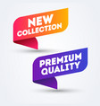 colorful label new collection and premium quality vector image vector image
