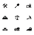 construction 9 icons set vector image