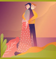 couple standing together hugging outdoor fluid vector image