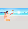 couple standing together sea beach obese man with vector image vector image