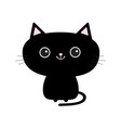 cute black cat icon funny cartoon character vector image