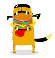 dog eating big hamburger hungry cute pet cartoon vector image