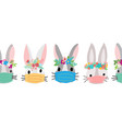 easter coronavirus bunnies with face mask seamless vector image vector image