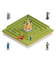 fairy tale game isometric composition vector image vector image