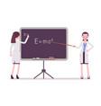female scientist at the blackboard vector image vector image