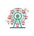 ferris wheel with red cabins amusement park vector image vector image
