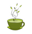 green tea cup hot smelling tea in ceramic cup vector image