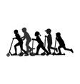 group children riding scooter silhouette vector image vector image