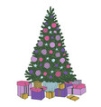 hand drawn decorated christmas tree with gifts vector image
