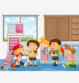 happy kids with their own pet vector image vector image
