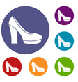 high heel shoes icons set vector image vector image