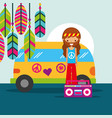 hippie man with van and radio musical retro vector image vector image
