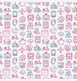 insurance seamless pattern with thin line icons vector image vector image