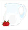 jug of milk and strawberries vector image