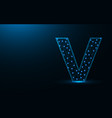 letter v low poly design alphabet abstract vector image vector image