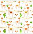 llama alpaca cactus maracas vector image vector image
