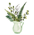 lush floral bouquet in vase hand drawn vector image vector image